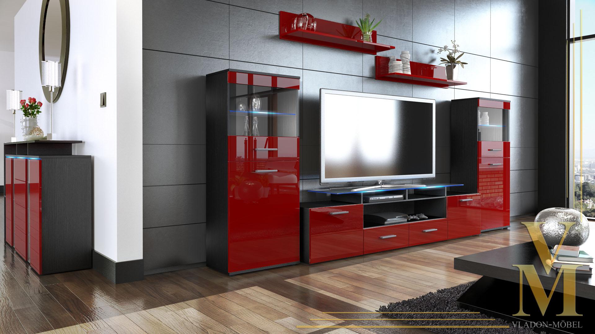 wohnwand anbauwand schrankwand almada v2 in schwarz bordeaux hochglanz ebay. Black Bedroom Furniture Sets. Home Design Ideas