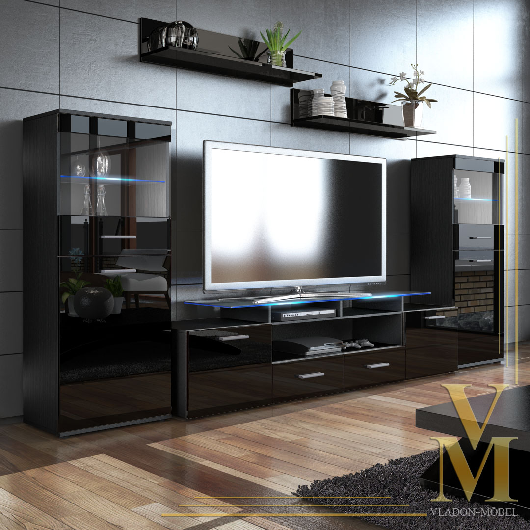 Wall Unit Living Room Furniture Almada V2 In Black Black