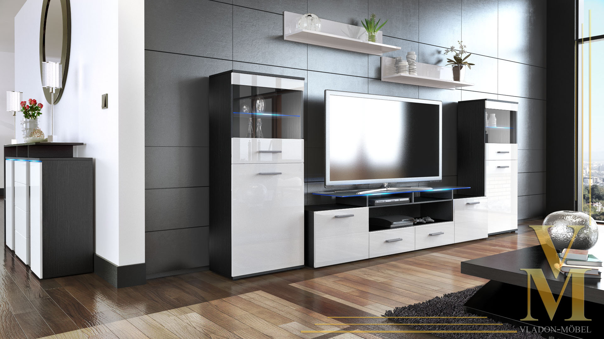 moderne anbauwand wohnwand schrankwand almada v2 schwarz. Black Bedroom Furniture Sets. Home Design Ideas