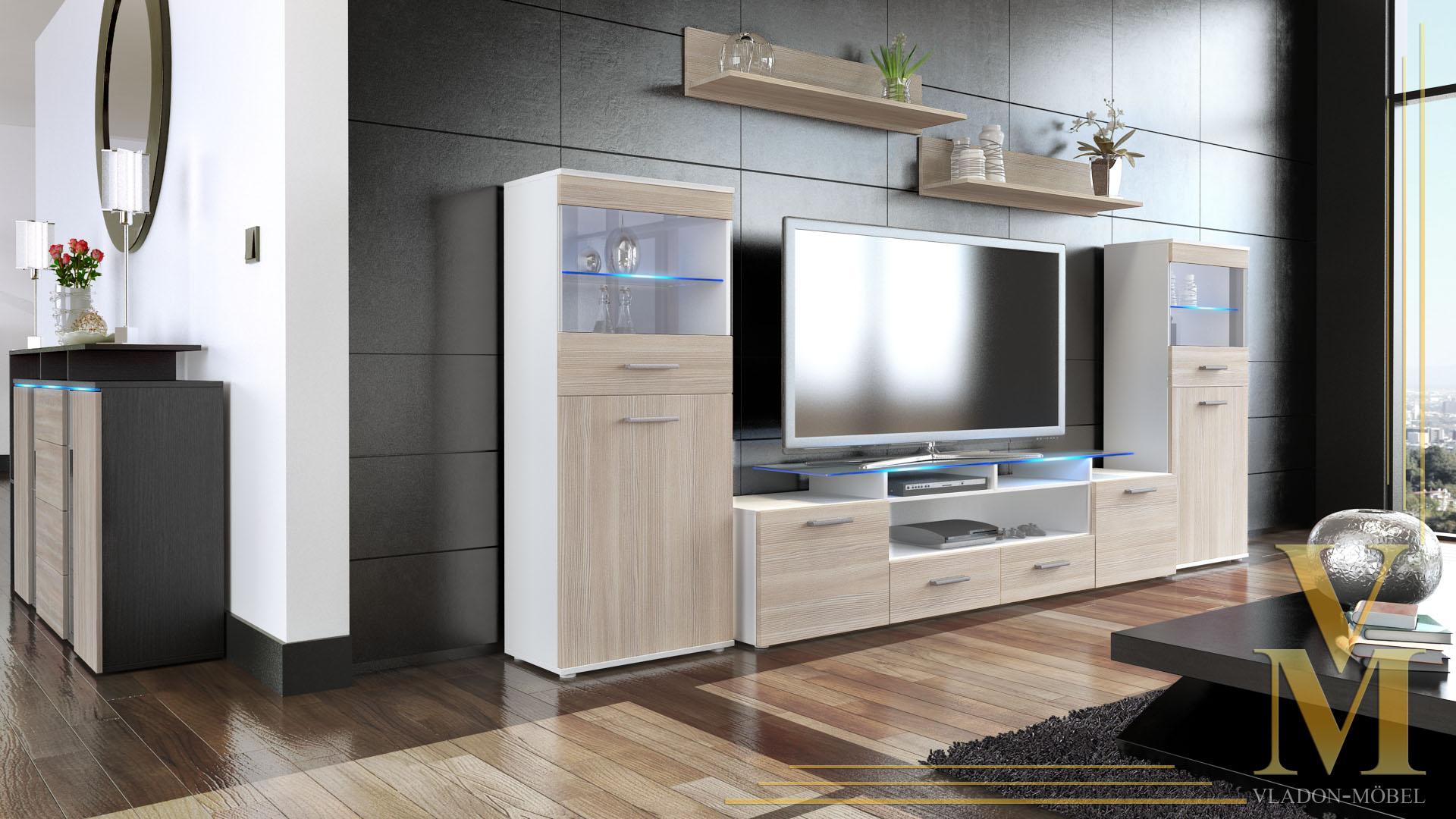 Moderne anbauwand wohnwand schrankwand almada v2 wei for Moderne schrankwand hochglanz