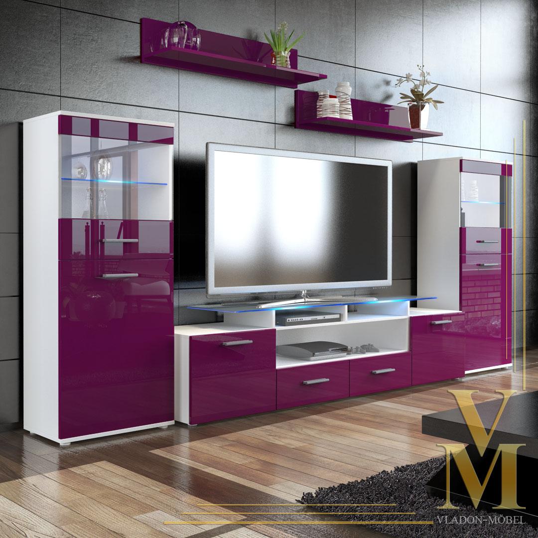 Wall Unit Living Room Furniture Almada V2 In White Raspberry Highgloss Ebay