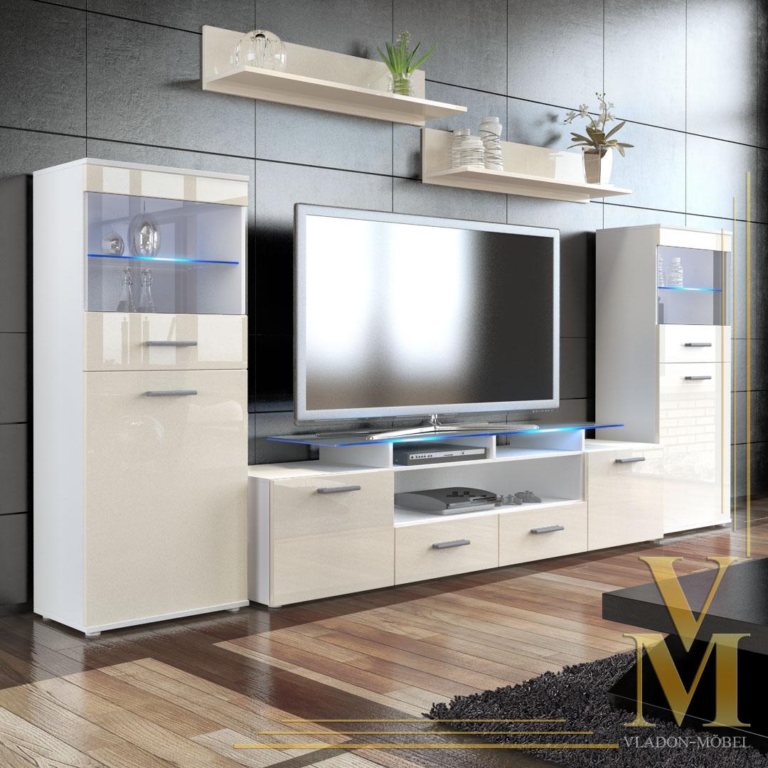 Wall unit living room furniture almada v2 in white cream - Cream high gloss living room furniture ...