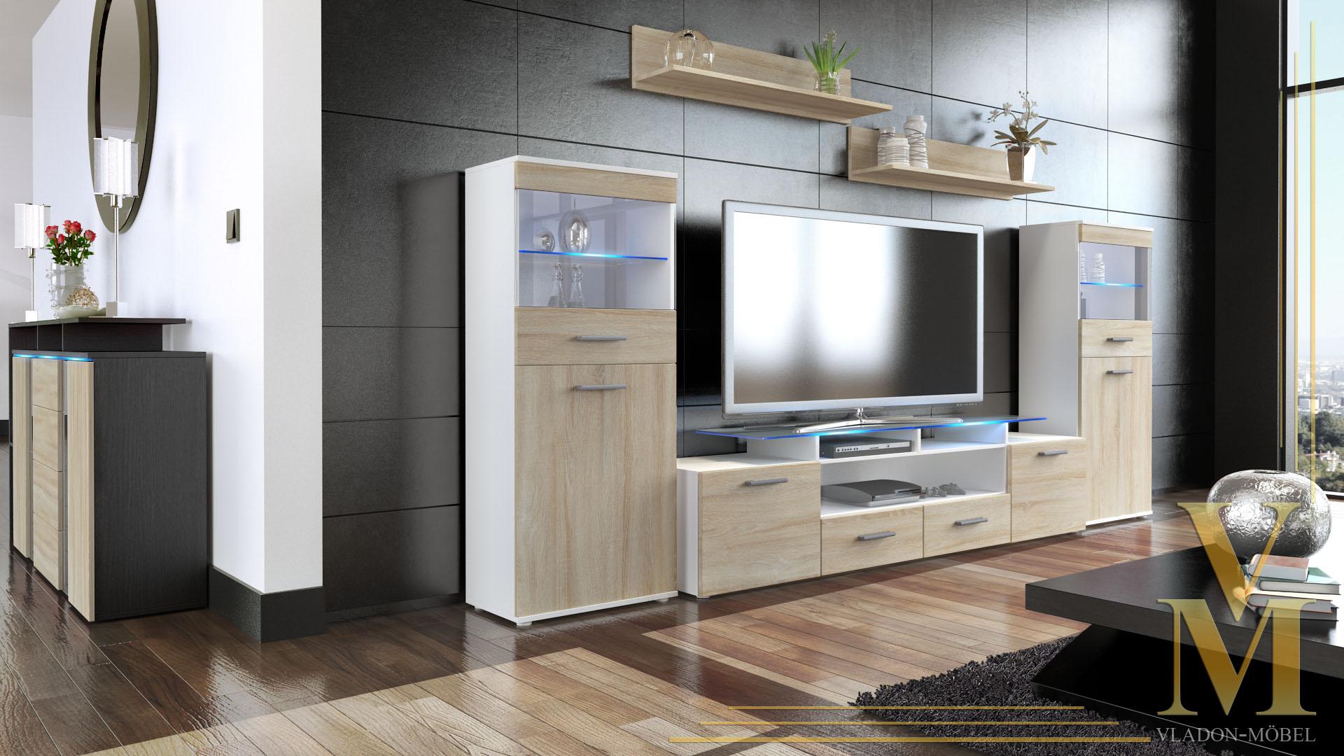 Wall unit living room furniture almada v2 white high for Wohnwand onyx