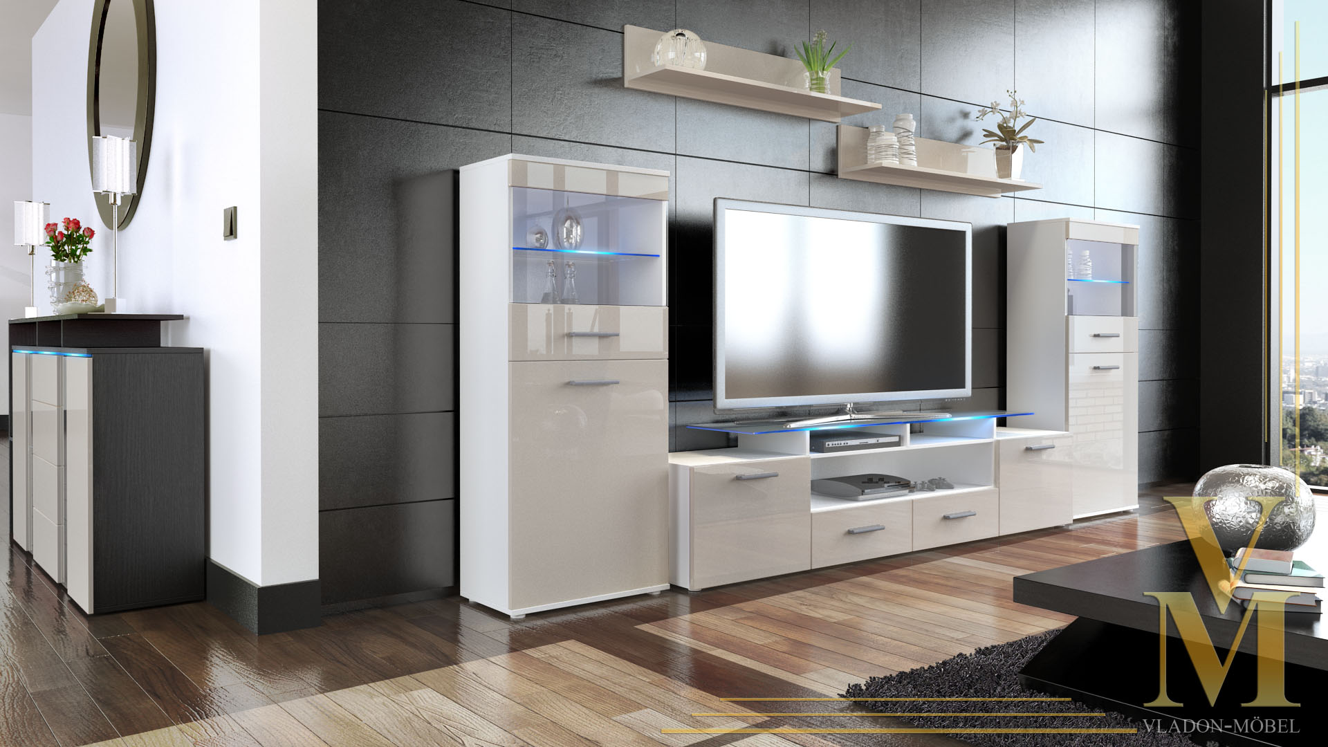 Wall unit living room furniture almada v2 white high - High gloss living room furniture uk ...