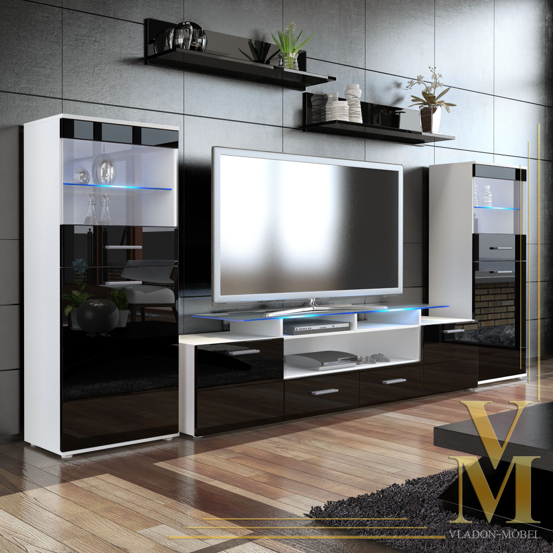 Wall Unit Living Room Furniture Almada V2 In White Black Highgloss Ebay
