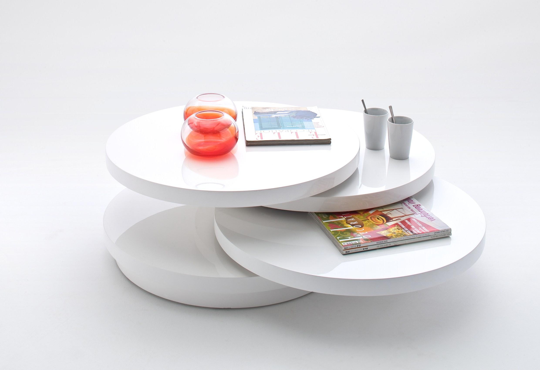 Couchtisch Wohnzimmertisch Tisch Almaty in Weiß Hochglanz