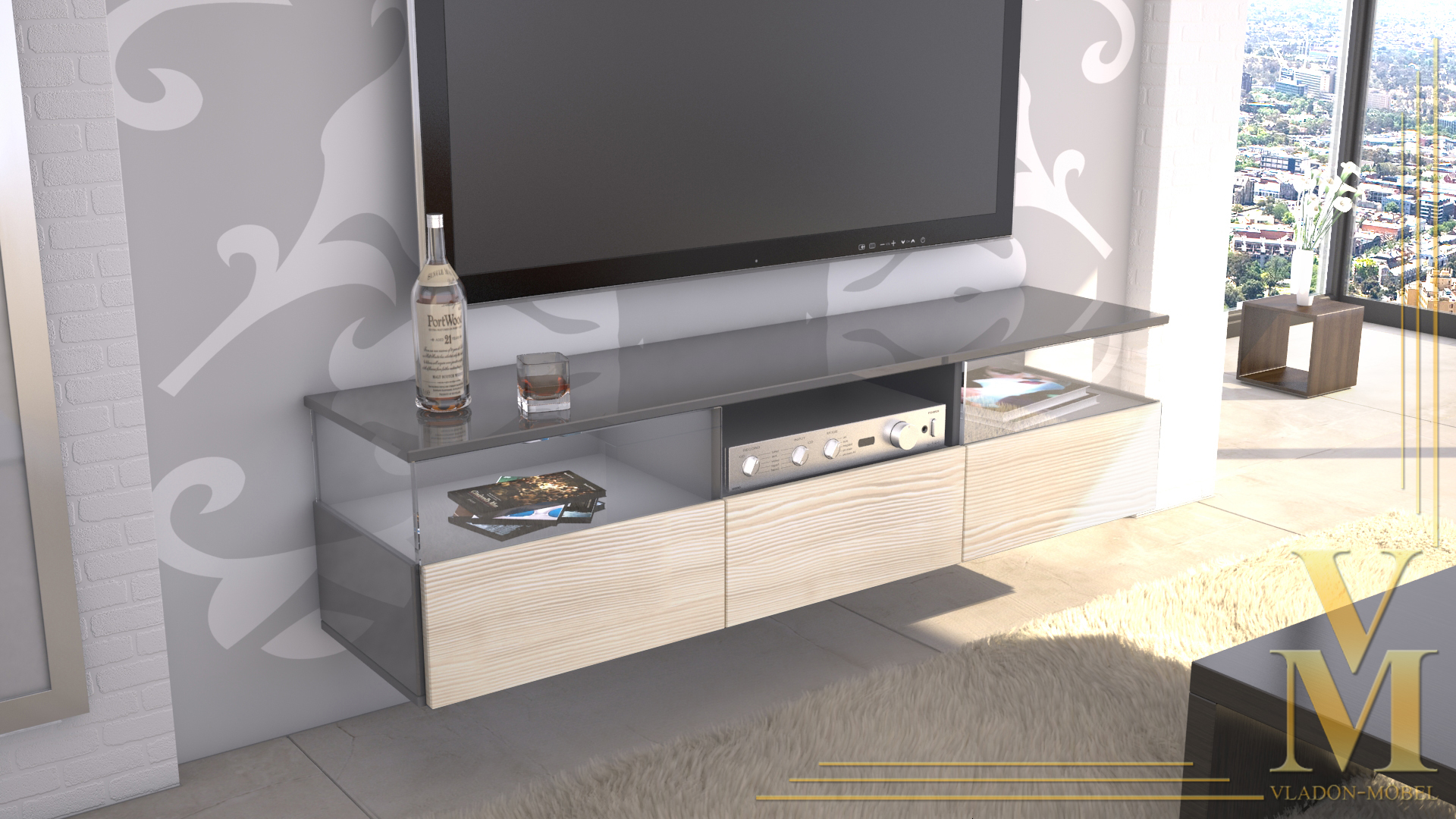 lowboard kommode tv board unterschrank almeria grau hochglanz naturt ne ebay. Black Bedroom Furniture Sets. Home Design Ideas