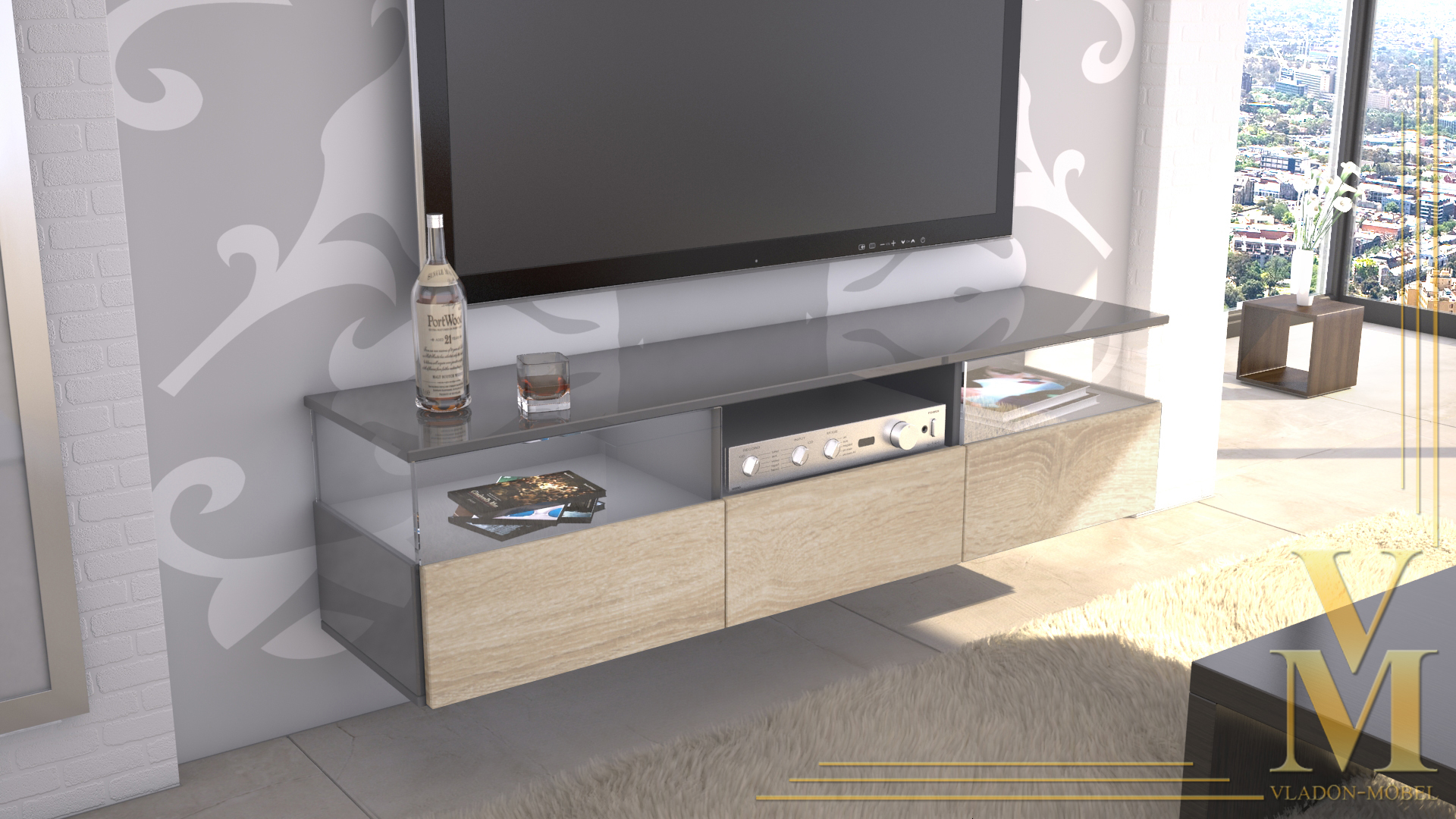 lowboard kommode tv board unterschrank almeria grau. Black Bedroom Furniture Sets. Home Design Ideas
