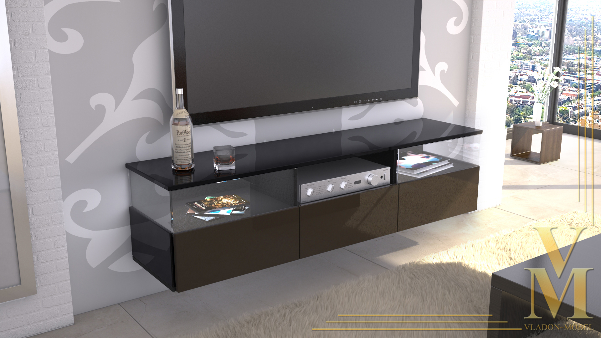 lowboard kommode tv board unterschrank almeria schwarz hochglanz naturt ne ebay. Black Bedroom Furniture Sets. Home Design Ideas