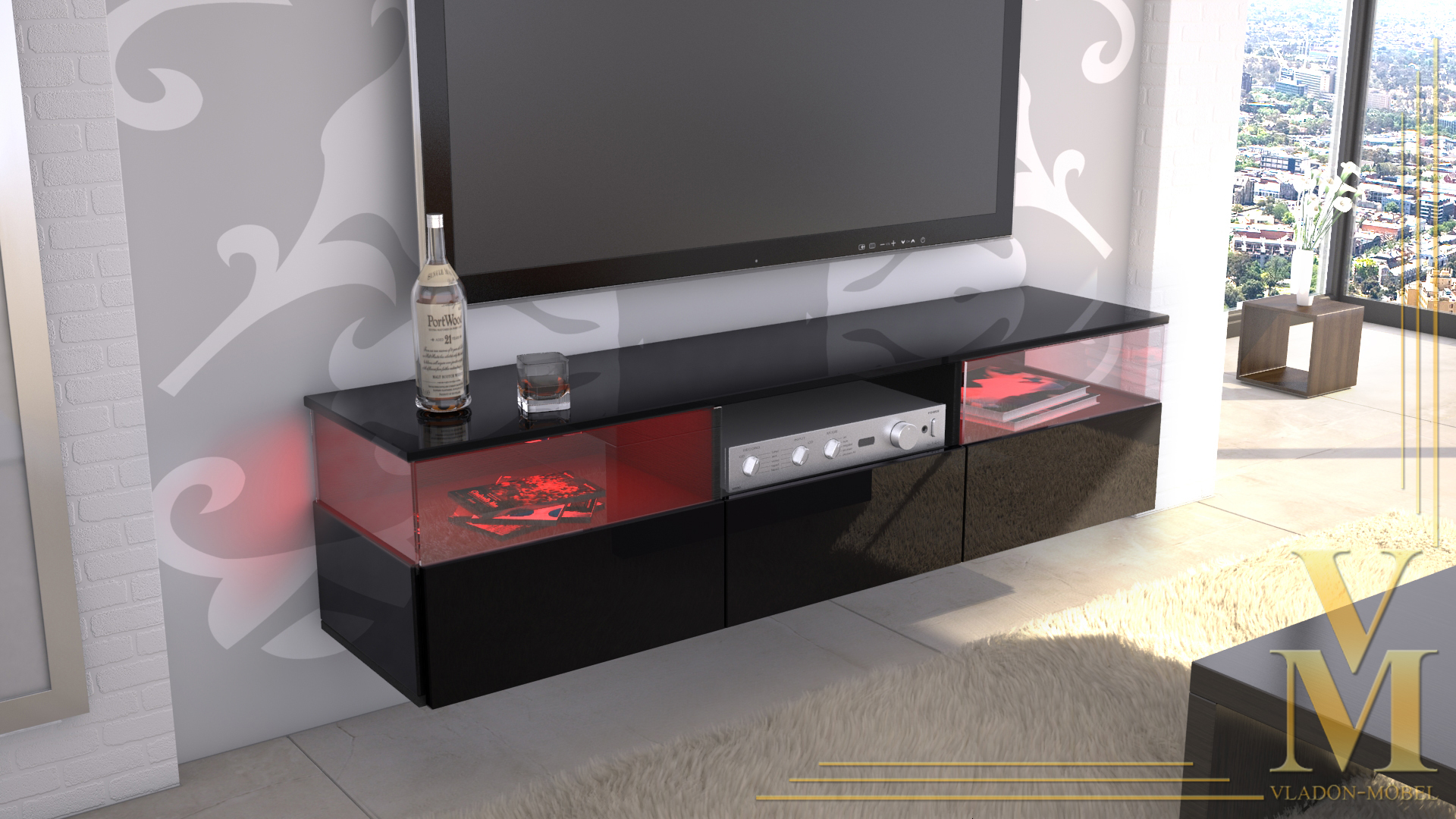 lowboard kommode tv board unterschrank almeria schwarz. Black Bedroom Furniture Sets. Home Design Ideas