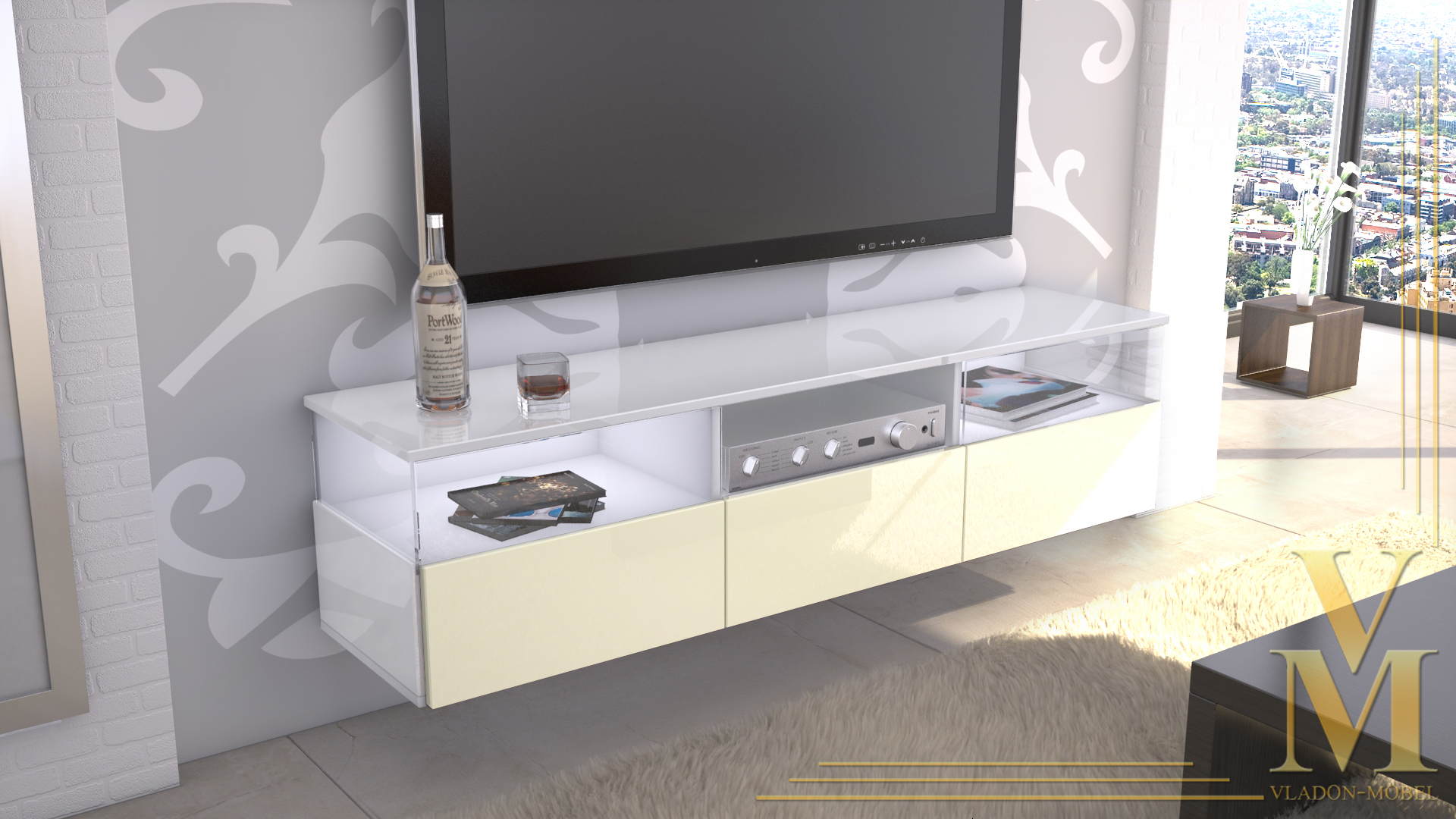 lowboard kommode tv board unterschrank almeria wei hochglanz naturt ne ebay. Black Bedroom Furniture Sets. Home Design Ideas