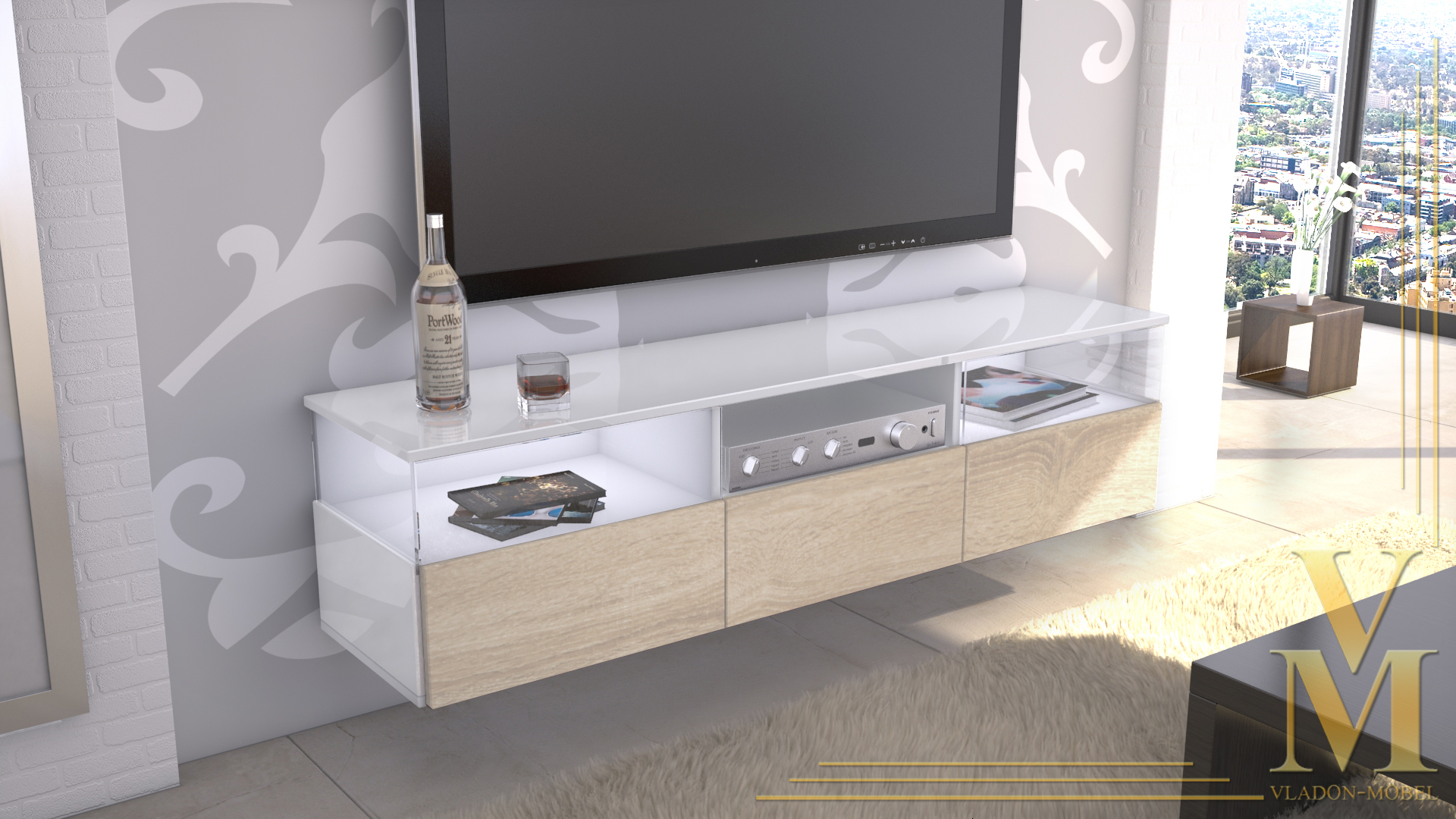 lowboard kommode tv board unterschrank almeria wei hochglanz. Black Bedroom Furniture Sets. Home Design Ideas