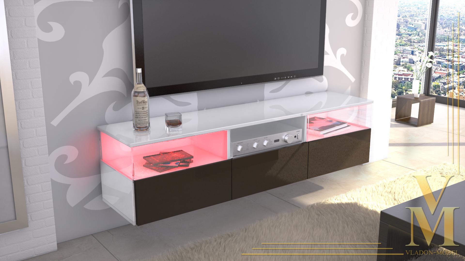 kommode tv board unterschrank almeria wei hochglanz naturt ne. Black Bedroom Furniture Sets. Home Design Ideas