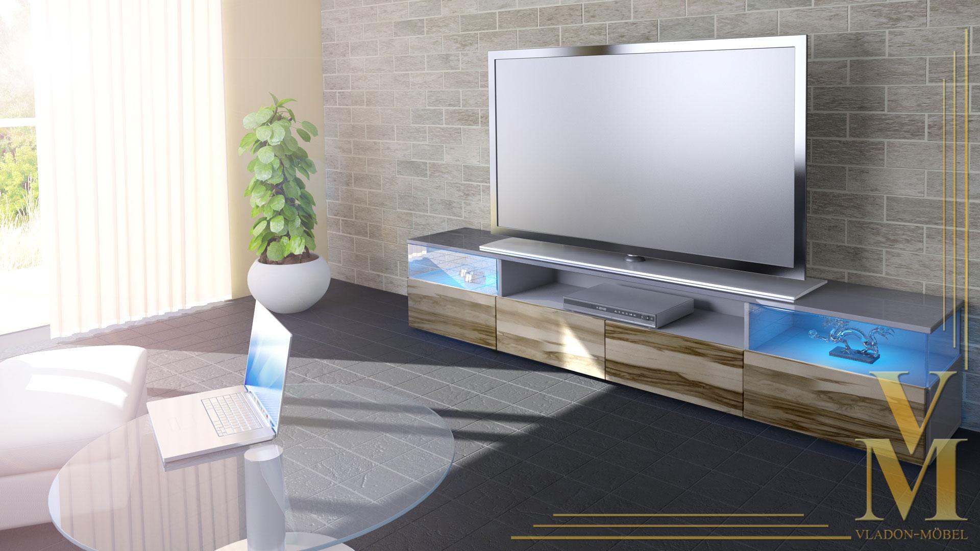 lowboard kommode tv board unterschrank almeria v2 grau hochglanz naturt ne ebay. Black Bedroom Furniture Sets. Home Design Ideas