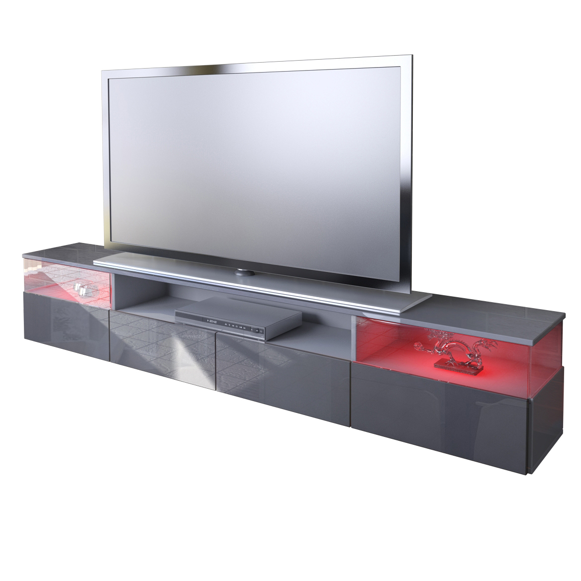tv unit lowboard stand cabinet almeria in grey high gloss sale ebay. Black Bedroom Furniture Sets. Home Design Ideas