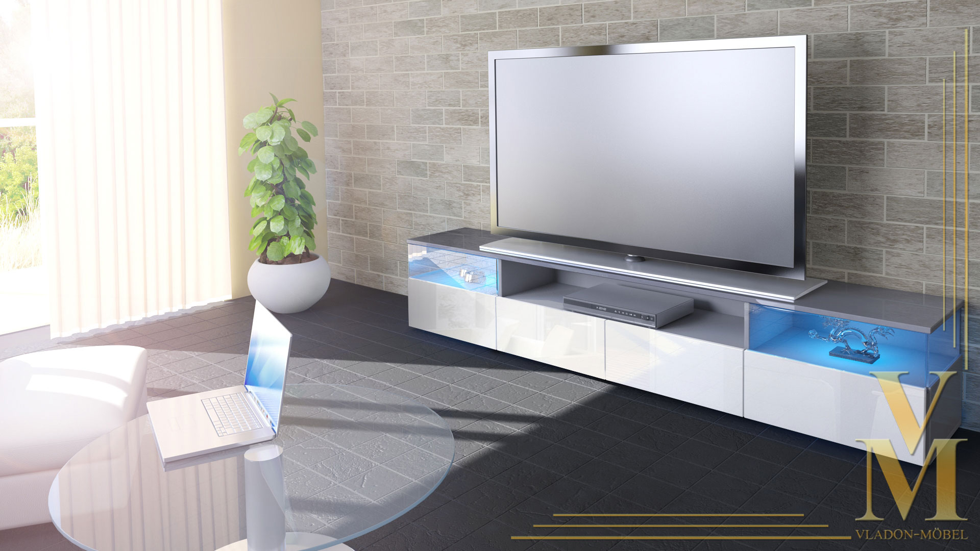Lowboard Kommode TV Board Unterschrank Almeria V2 Grau