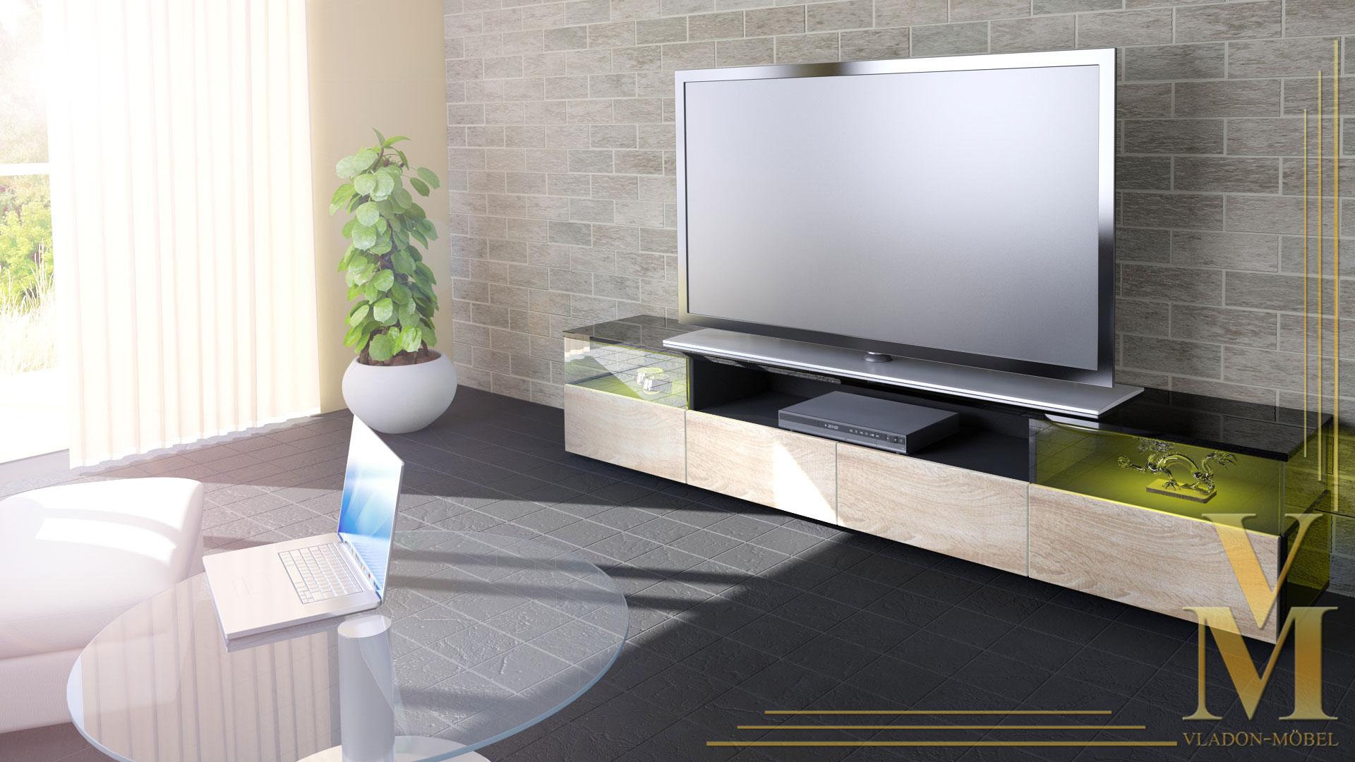 lowboard kommode tv board unterschrank almeria v2 schwarz. Black Bedroom Furniture Sets. Home Design Ideas