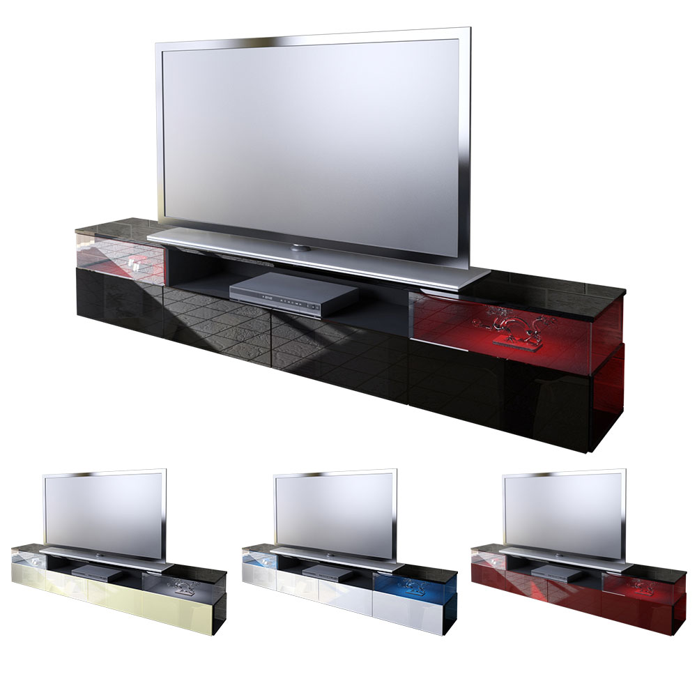 lowboard kommode tv board unterschrank almeria v2 schwarz hochglanz naturt ne ebay. Black Bedroom Furniture Sets. Home Design Ideas