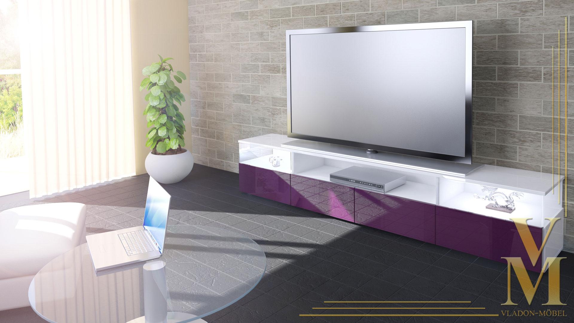 lowboard kommode tv board unterschrank almeria v2 wei hochglanz naturt ne ebay. Black Bedroom Furniture Sets. Home Design Ideas