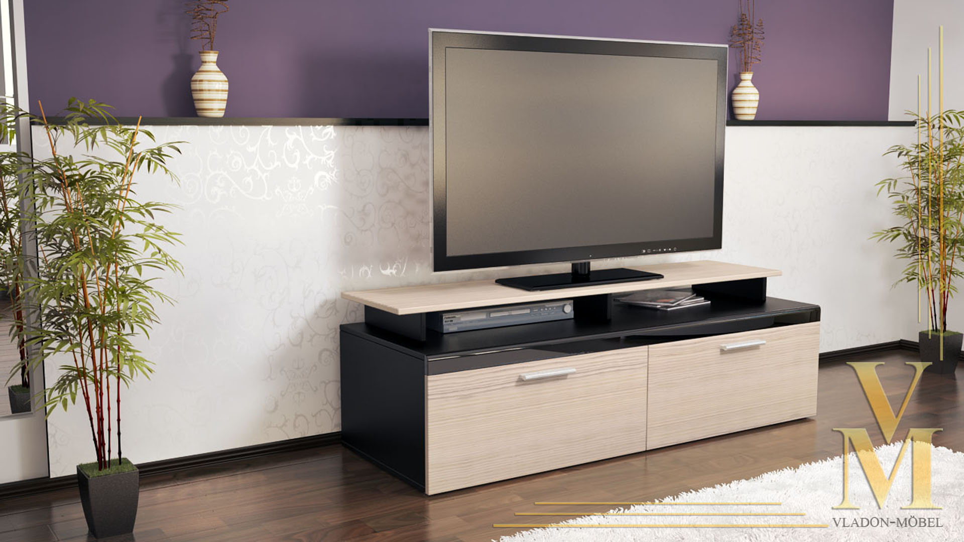tv board lowboard sideboard tisch atlanta schwarz hochglanz naturt ne ebay. Black Bedroom Furniture Sets. Home Design Ideas