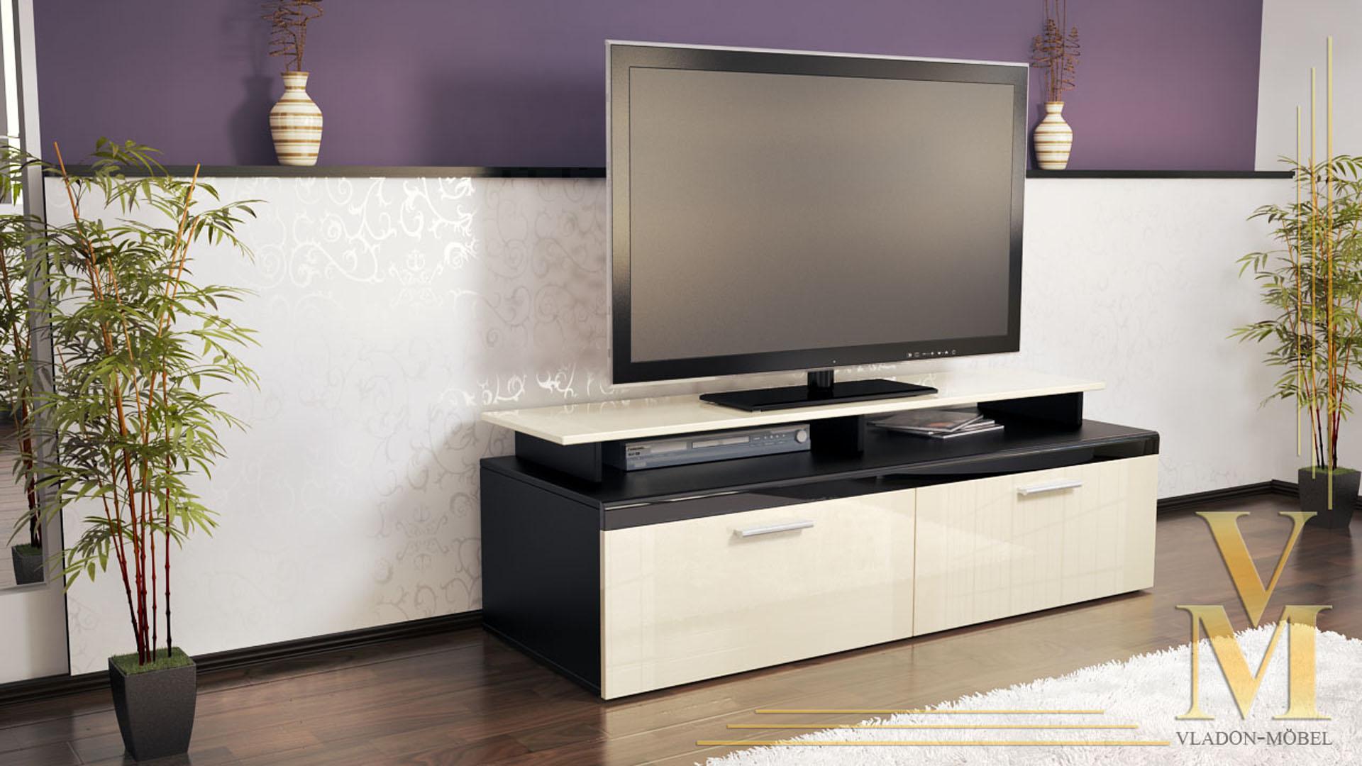 tv board lowboard sideboard tisch atlanta schwarz hochglanz amp. Black Bedroom Furniture Sets. Home Design Ideas