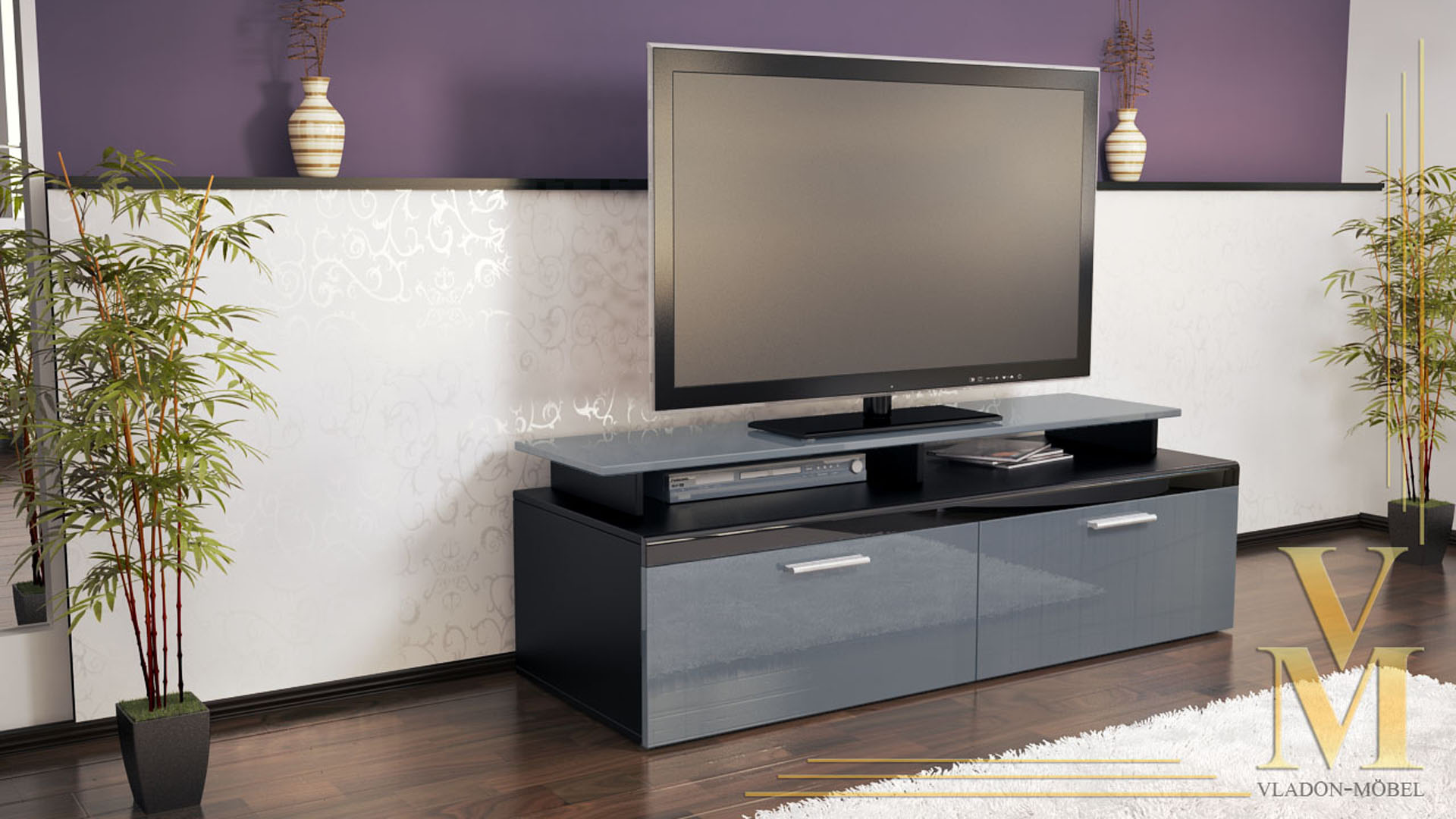 tv board grau fabulous best tv board adinos in sonoma eiche grau stein optik with tv lowboard. Black Bedroom Furniture Sets. Home Design Ideas