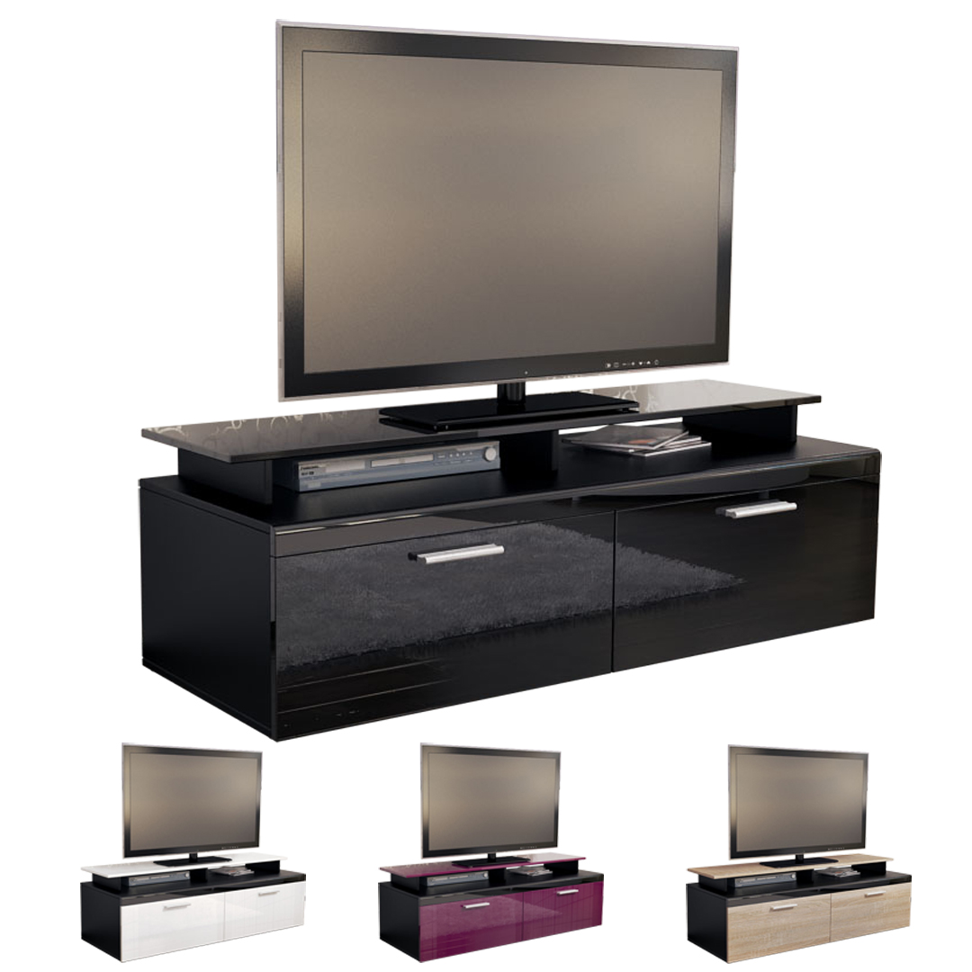 tv board lowboard sideboard tisch atlanta schwarz in hochglanz oder naturfarben ebay. Black Bedroom Furniture Sets. Home Design Ideas