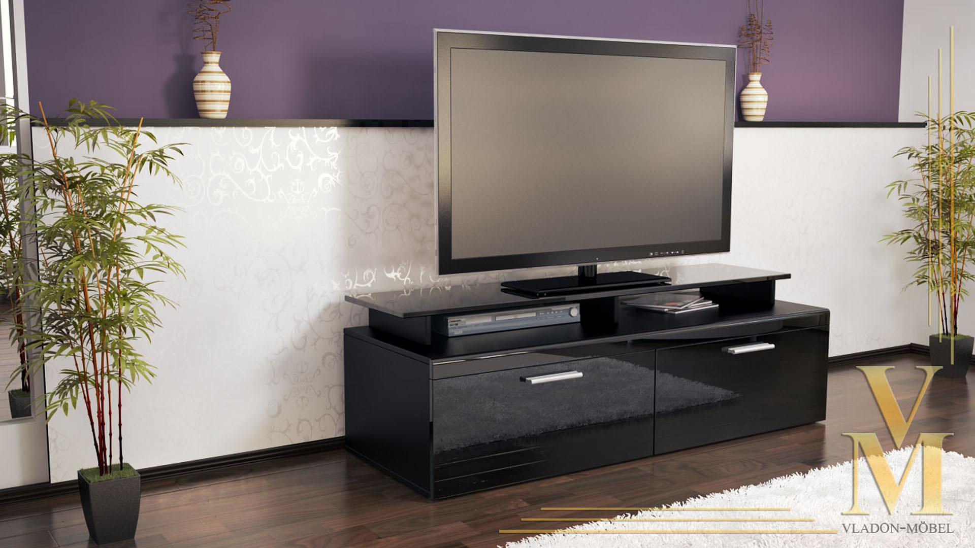 tv board lowboard sideboard tisch atlanta schwarz. Black Bedroom Furniture Sets. Home Design Ideas