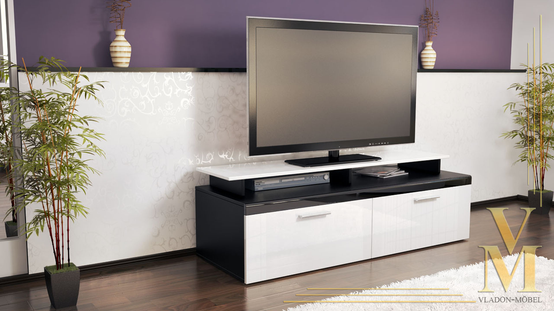 Tv Stand Unit Board Lowboard Cabinet Atlanta Black High Gloss  # Vladon Meuble Tv