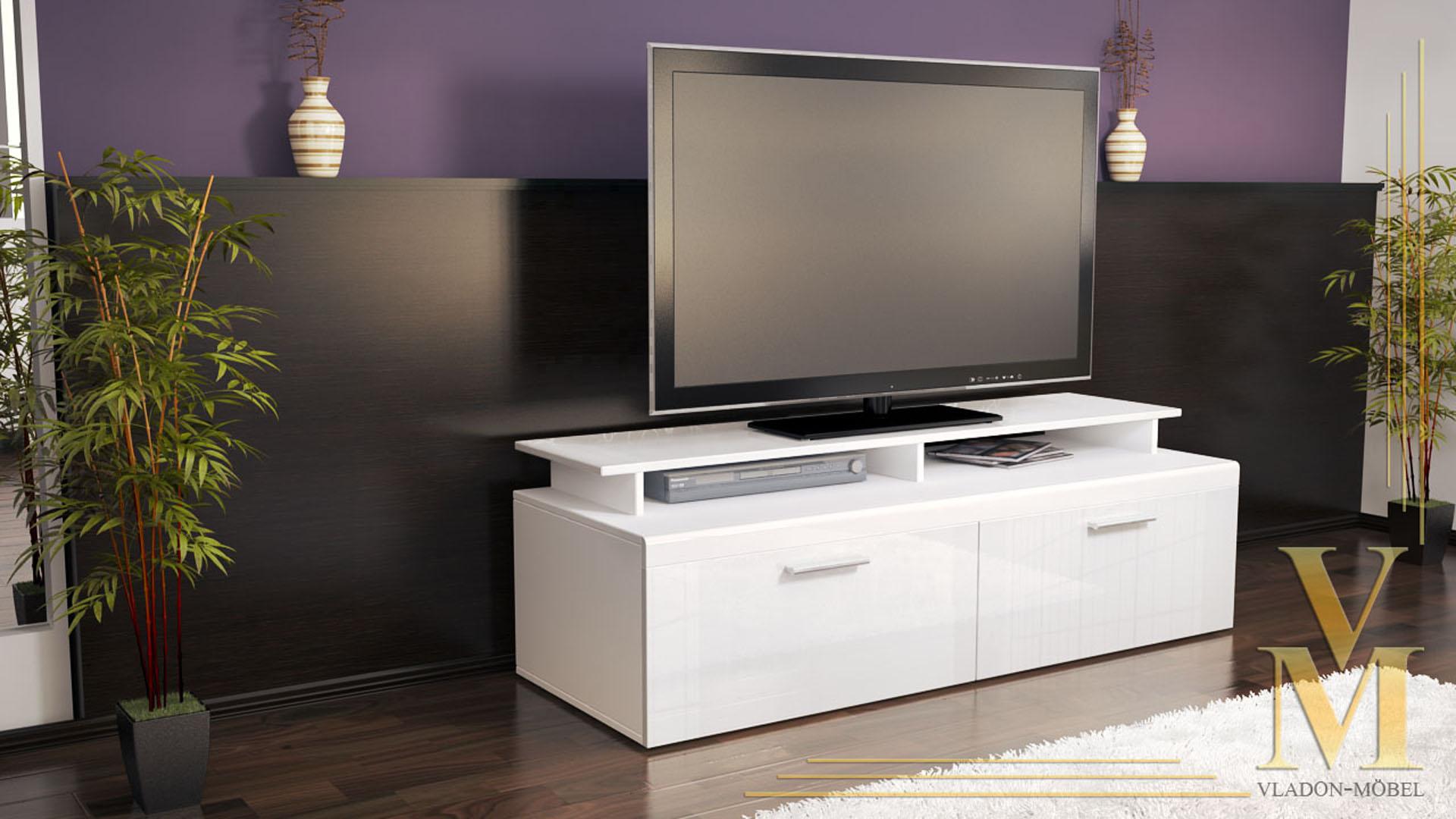 tv board lowboard sideboard tisch atlanta wei hochglanz naturt ne ebay. Black Bedroom Furniture Sets. Home Design Ideas