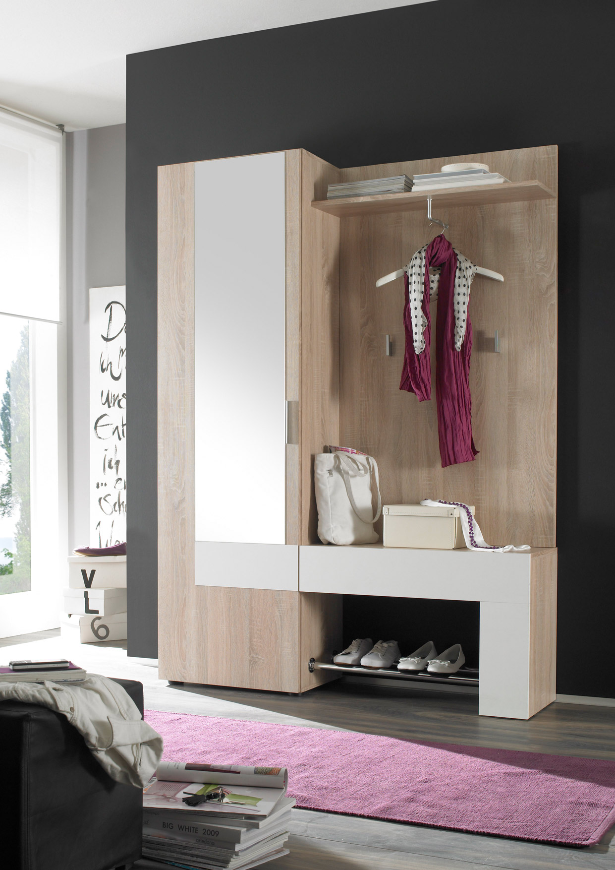garderobenset garderobe wandgarderobe kompaktgarderobe backbeat sonoma eiche ebay. Black Bedroom Furniture Sets. Home Design Ideas