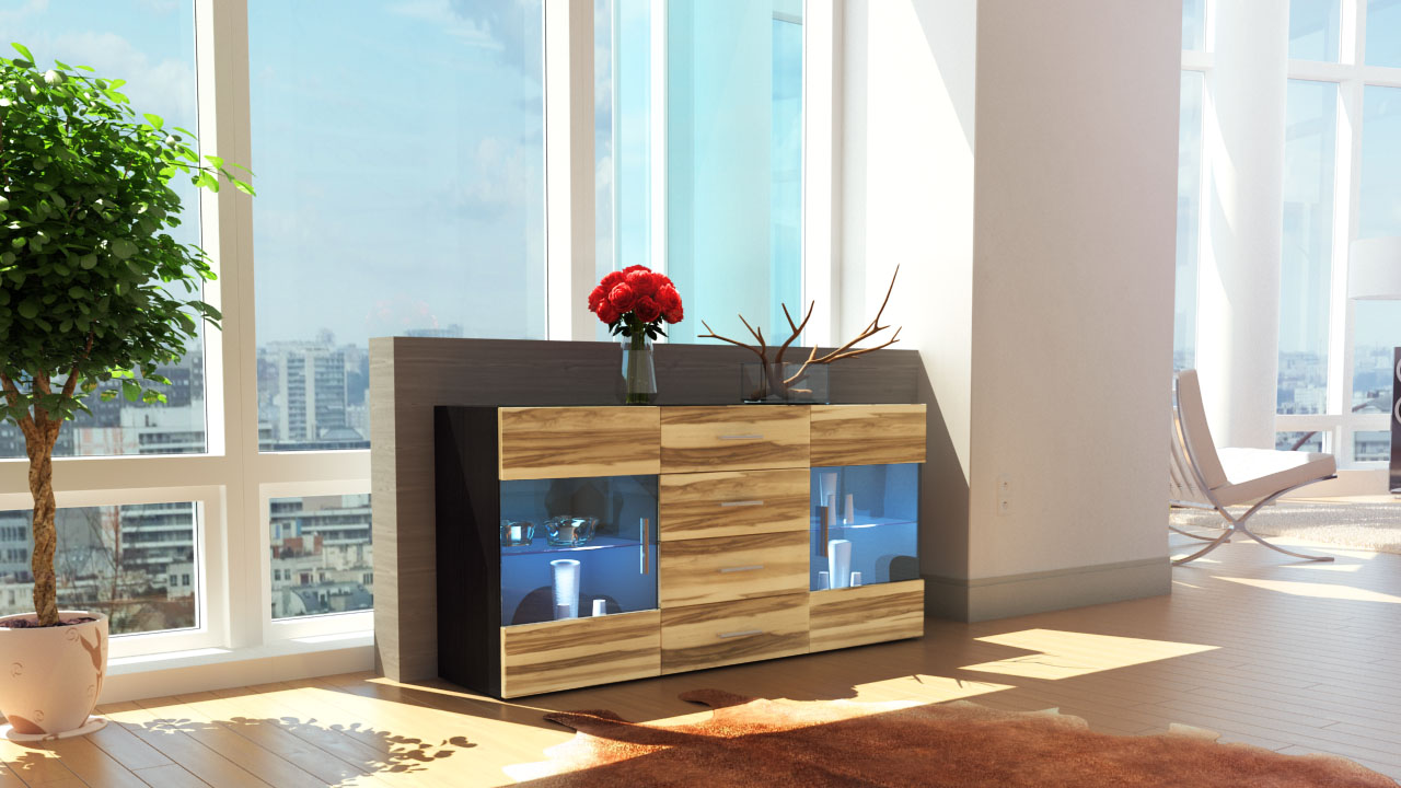 sideboard kommode tv board vitrine anrichte bari schwarz hochglanz naturt ne ebay. Black Bedroom Furniture Sets. Home Design Ideas