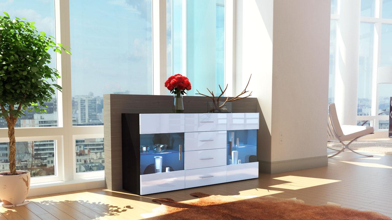 sideboard chest of drawers cabinet bari black high gloss. Black Bedroom Furniture Sets. Home Design Ideas