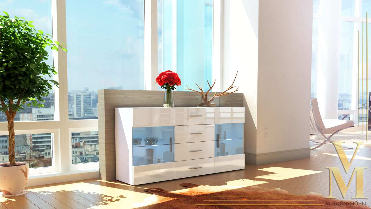modern sideboard buffet server storage cabinet chest bari in white high gloss ebay. Black Bedroom Furniture Sets. Home Design Ideas