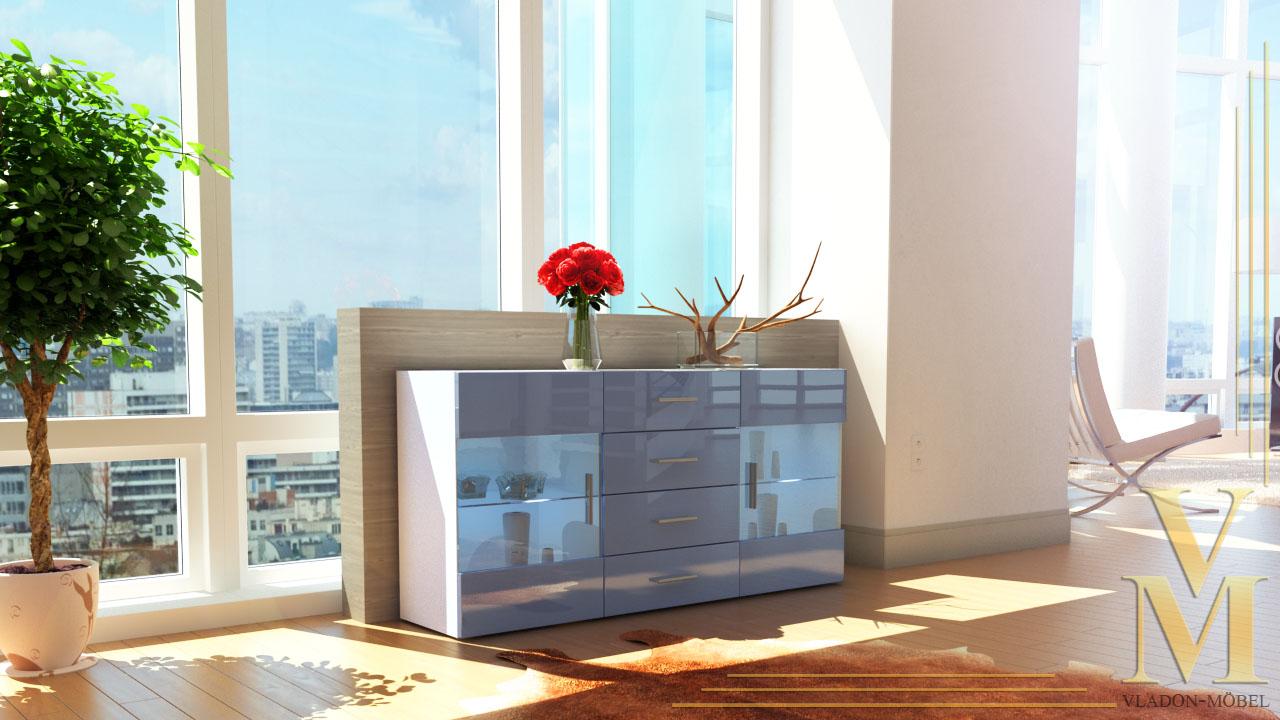 Modern sideboard buffet server storage cabinet chest bari for Sideboard grau