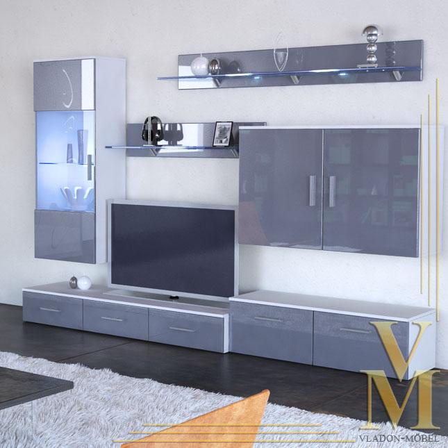 Wall Unit Living Room Furniture Bari In White Grey Highgloss Ebay