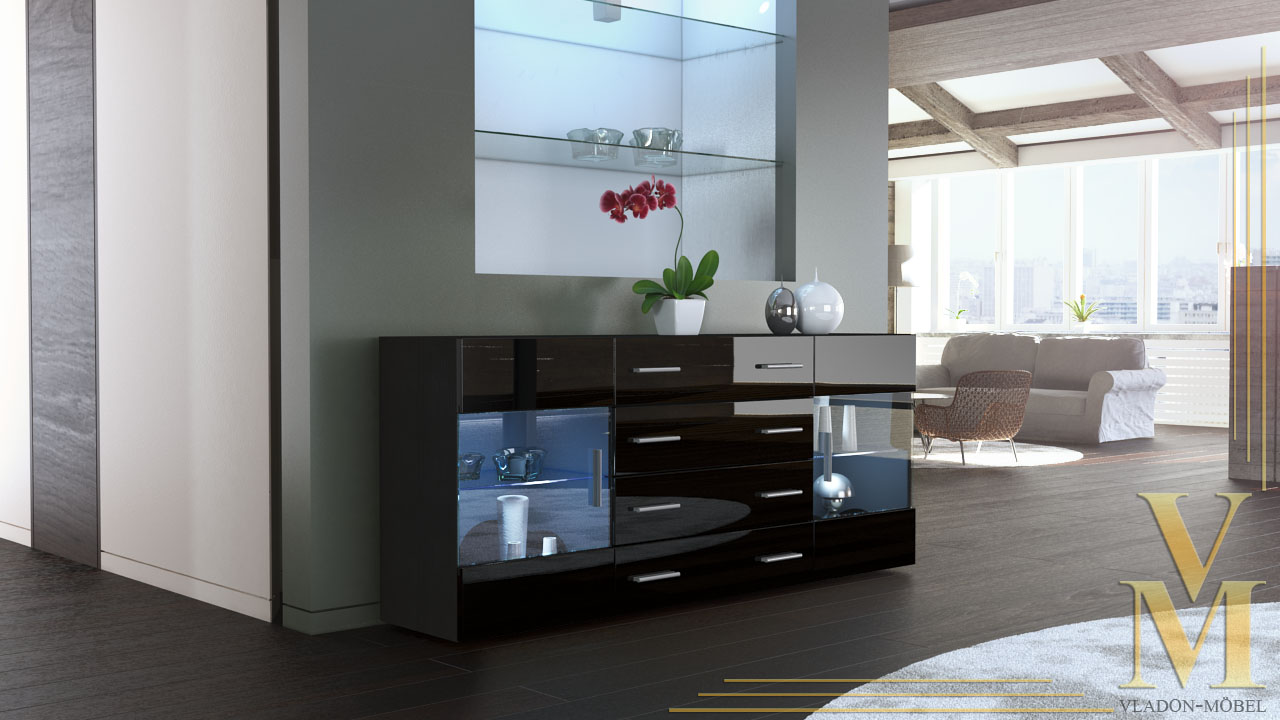 sideboard kommode anrichte tv board bari v2 in schwarz. Black Bedroom Furniture Sets. Home Design Ideas