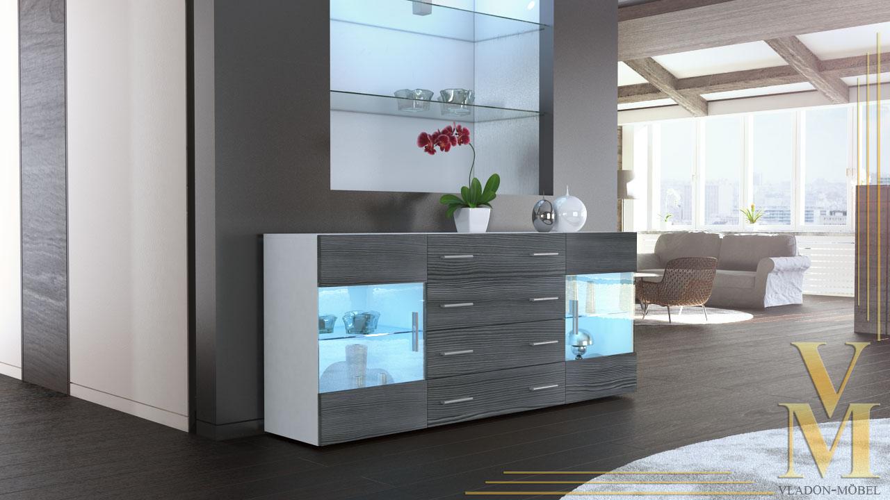Modern Sideboard Buffet Server Storage Cabinet Chest Bari V2 White High Gloss...
