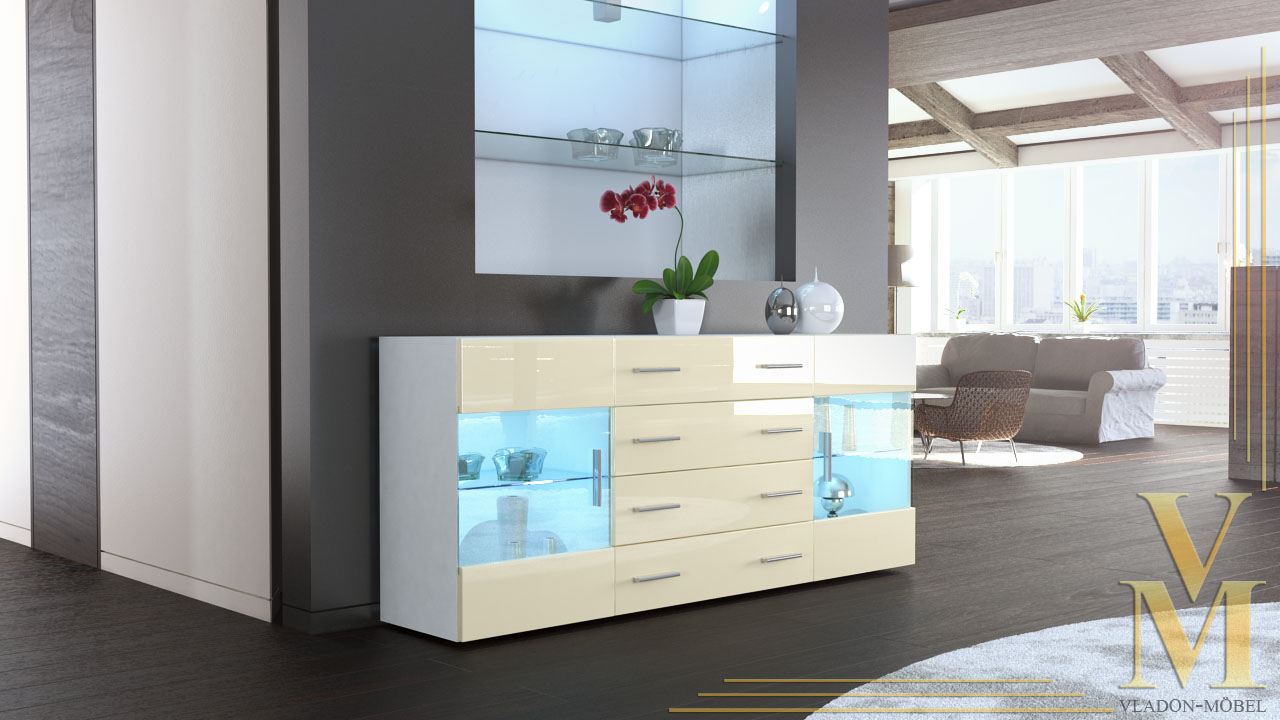 sideboard kommode tv board vitrine anrichte bari v2 wei hochglanz naturt ne ebay. Black Bedroom Furniture Sets. Home Design Ideas