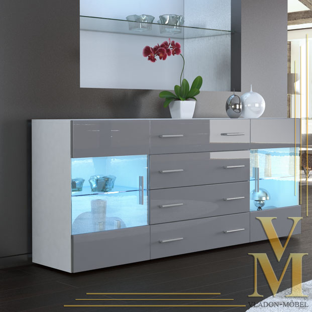 sideboard cabinet tv board bari v2 in white grey highgloss. Black Bedroom Furniture Sets. Home Design Ideas