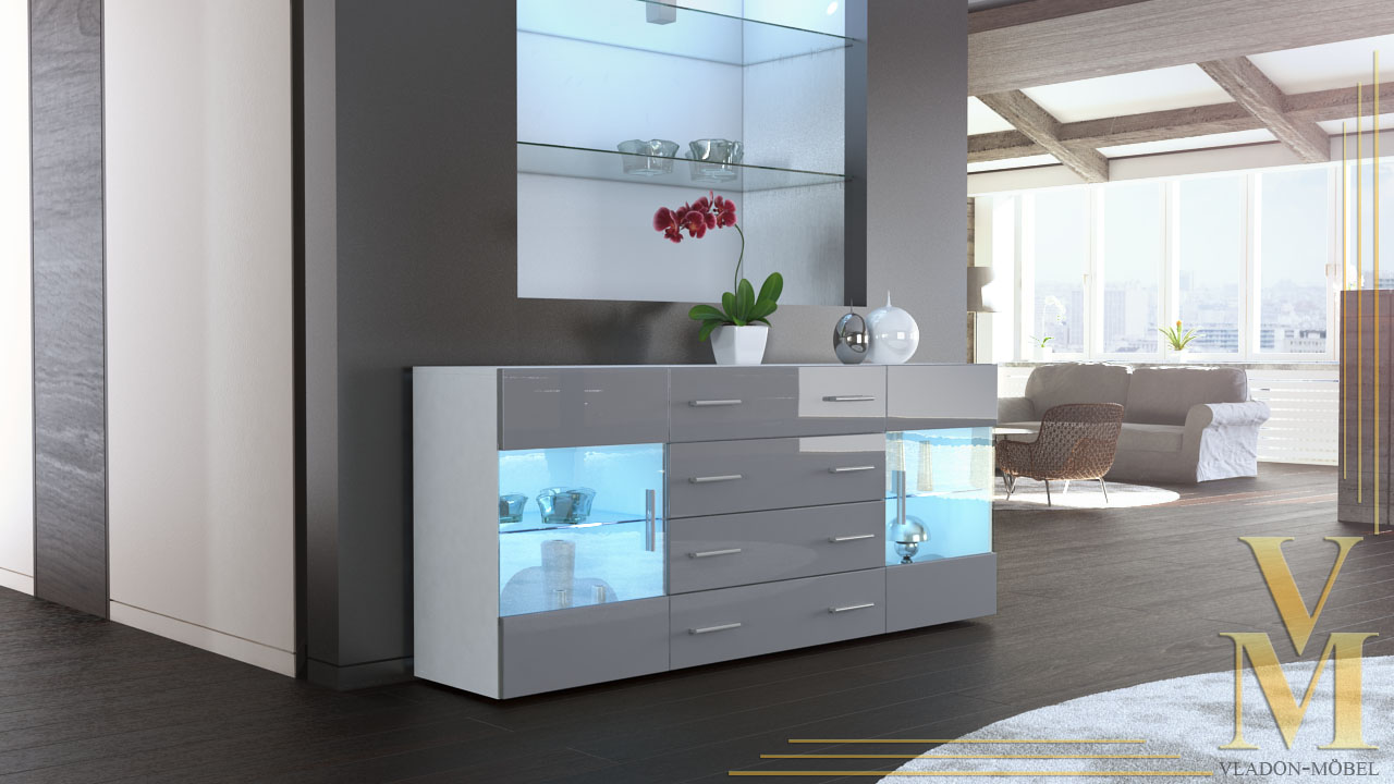 modern sideboard buffet server storage cabinet chest bari v2 white high gloss ebay. Black Bedroom Furniture Sets. Home Design Ideas