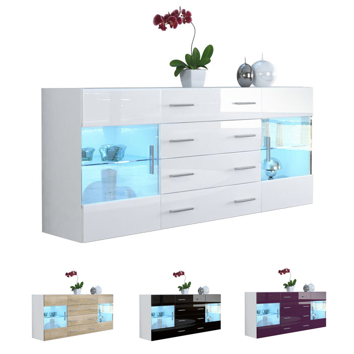 modern sideboard buffet server storage cabinet chest bari v2 white high gloss ebay. Black Bedroom Furniture Sets. Home Design Ideas