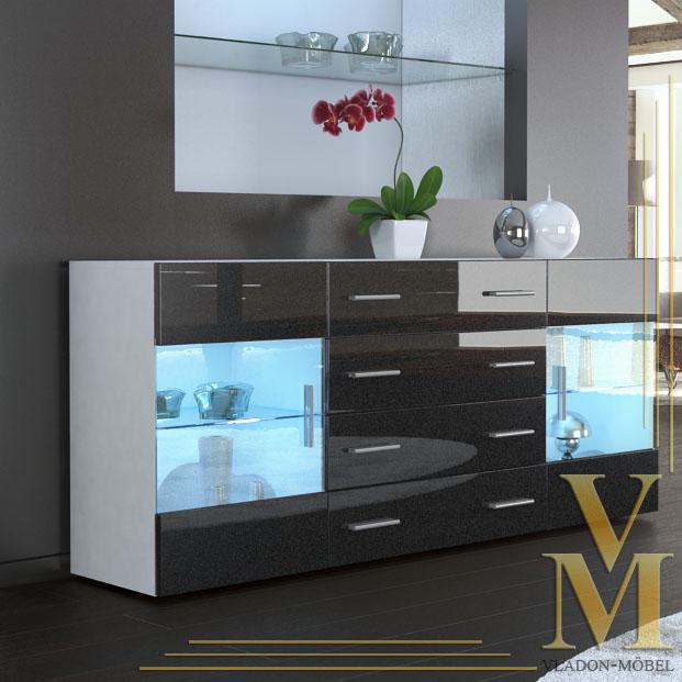 sideboard cabinet tv board bari v2 in white black. Black Bedroom Furniture Sets. Home Design Ideas