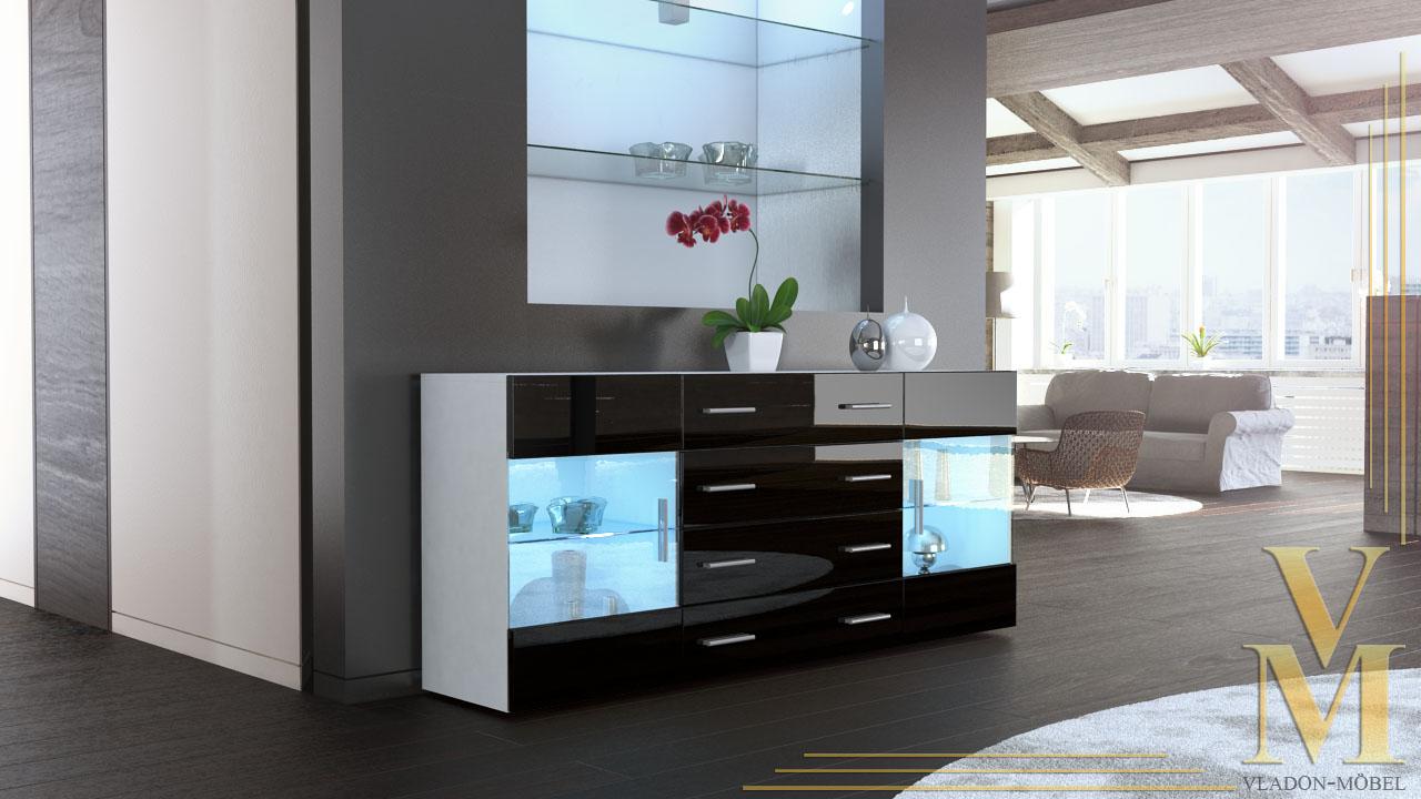 sideboard chest of drawers cabinet bari v2 white high. Black Bedroom Furniture Sets. Home Design Ideas