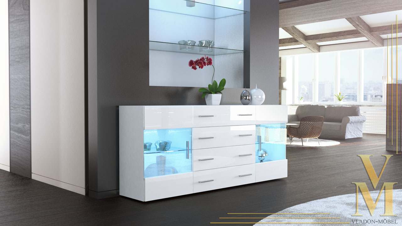 sideboard kommode tv board vitrine anrichte bari v2 wei. Black Bedroom Furniture Sets. Home Design Ideas