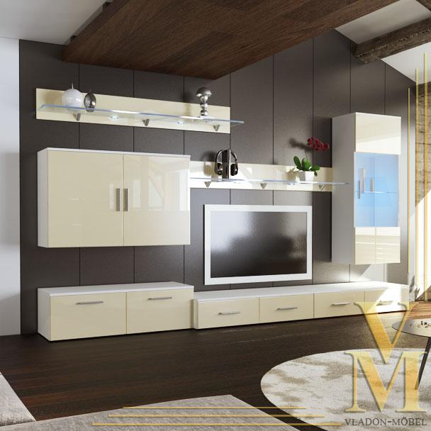 Wall unit living room furniture bari v2 in white cream - Cream high gloss living room furniture ...