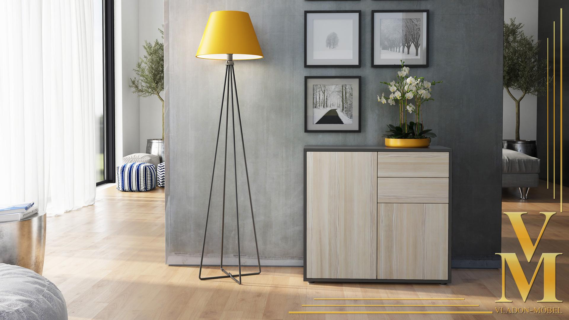 kommode sideboard anrichte schrank ben in schwarz hochglanz und naturt ne ebay. Black Bedroom Furniture Sets. Home Design Ideas