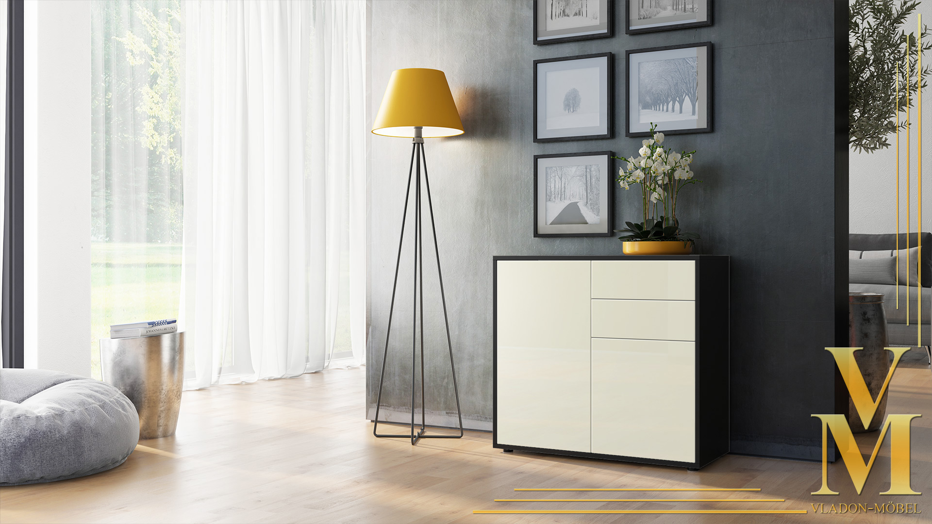 kommode sideboard anrichte schrank ben in schwarz. Black Bedroom Furniture Sets. Home Design Ideas