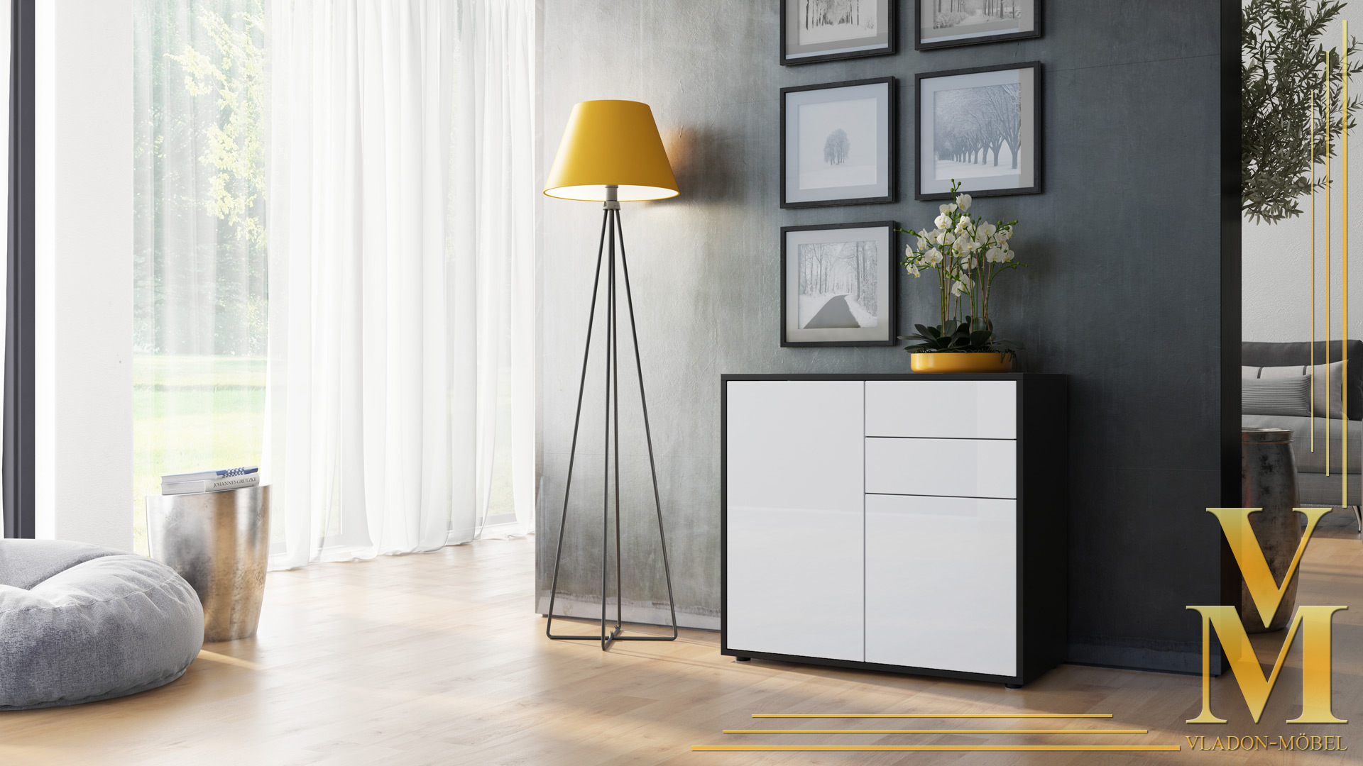 kommode sideboard anrichte schrank ben in schwarz hochglanz und naturt ne ebay. Black Bedroom Furniture Sets. Home Design Ideas