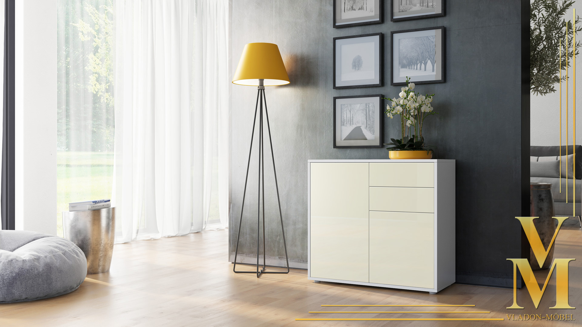 kommode sideboard anrichte schrank ben in wei hochglanz und naturt ne. Black Bedroom Furniture Sets. Home Design Ideas